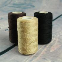 Three cotton original thick weaving thread in blonde, dark brown, and black