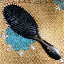 Black nylon bristle cushion brush for human hair extensions care