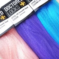Light pink, purple, and turquoise blue Doctored Locks KK Smooth Seal Jumbo Braid packs