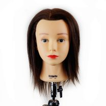 Dark Brown Hair Color Mannequin Training Head for Extension Practice on Tripod Stand