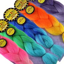 5 packs of RastAfri Kanekalon Jumbo Braid in pink ombre, green to blue ombre, blue ombre, orange ombre, and purple ombre