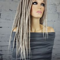 Full 18 length synthetic crochet formed dreadlock clip in extensions on model
