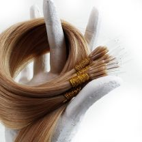One 40 gram 50 strand bundle of 18 inch flex tip nano hair extensions in color 10 golden brown