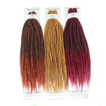 Three packs of 18 inch long caramel, burgundy ombre, and red ombre kanekalon premade twists