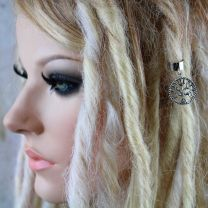 Silver metal Tree of Life celtic charm dread cuff on model with blonde dreadlocks