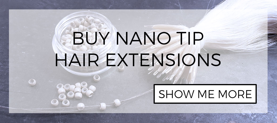 Nano hair strands for installing nano tip hair extensions